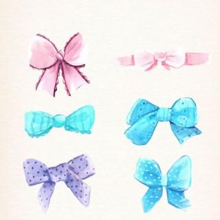 六款手繪水彩水粉蝴蝶結