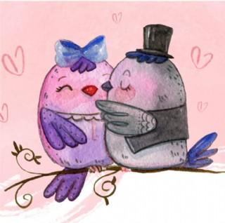 手繪水彩情人節浪漫可愛的小鳥