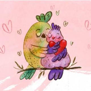 手繪水彩情人節浪漫擁抱的小鳥
