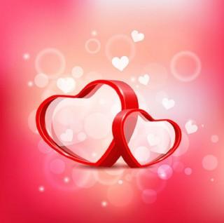粉紅色浪漫情人節3D紅心
